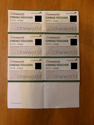 6 x Cineworld Cinema Vouchers Expiry 31/12/2020