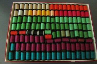 Box of 130 Vintage Threads 10 yard spools Assorted colors