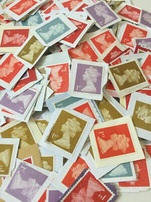 100 x 1st or 2nd Class Unfranked Stamps On Paper WITH MINOR FAULTS