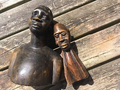 Two Antique 20th Century African Hand Carved Busts / Statues With Great Patina
