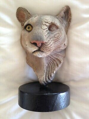 """Rick Cain 1994 Limited Edition """"Spirit of the Mountain"""" Cougar Sculpture544/2000"""