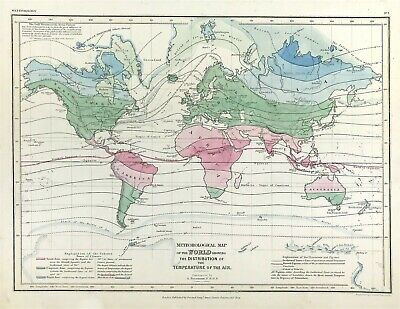 Map of WORLD Meteorological map, c1852, Published by Orr & Company, colour