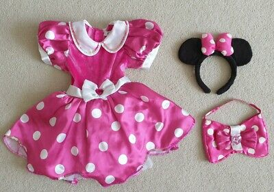 Girls Disney Store Minnie Mouse Fancy Dress Costume Age 3 - 4 Yrs