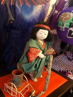 ANTIQUE QUALITY GOSHO NINGYO*on PLATFORM*w/CART, GOFUN DOLL*HI SHEEN*SALE