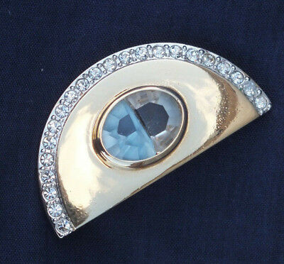 Deco Style Vintage Goldtone Brooch / Pin Blue & White Colour Stones - Lovely