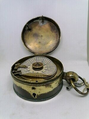 Watchmans Brass Clock Antique