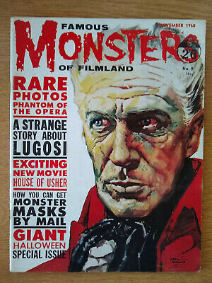 FAMOUS MONSTERS horror magazine issue 9 Nov. 1960. Vincent Price House Of Usher