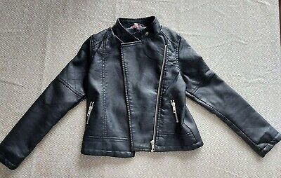 Girls Miss Evie Faux Leather Jacket Black Age 7-8