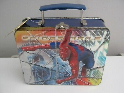 ORIGINAL 2004 Spider Man 2 Embossed Carry All Tin Tote Lunchbox BNWT! Spiderman