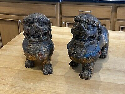 Beautiful Guilded Chinese Guardian Lions - Foo Dogs - 石狮