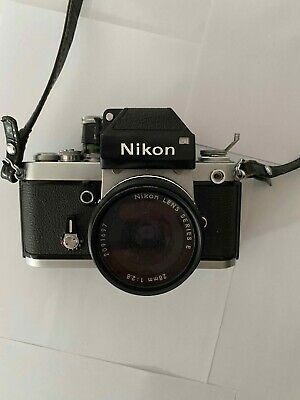 Nikon F2 film camera with 28mm series E f2.8 lens leather case