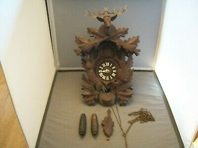 Vintage Black Walnut German Made Cuckoo Clock--Stag On Top