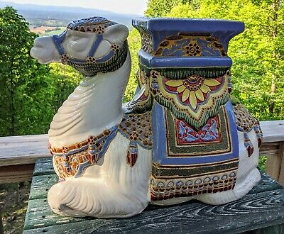 Large Ceramic Camel Freestanding Display Table / Plant Stand Exotic - BEAUTIFUL!