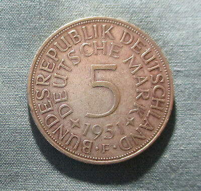1951-F GERMANY 5 Marks Silver Coin