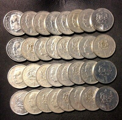 Old Morocco Coin Lot - ONE DIRHAM - 32 Uncommon Type Coins - Lot #M31