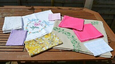 Vintage assorted linens, embroidered tablecloths, napkins, hankies, pillow case.