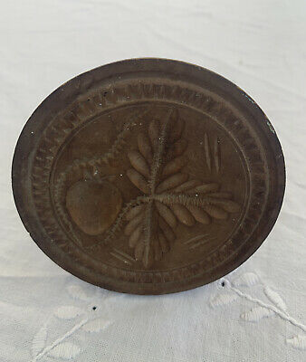 Antique Primitive Carved Wood Butter Mold and Press Strawberries With Leaves