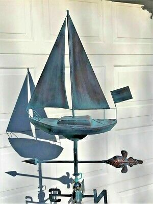 SAILBOAT Weather Vane AGED COPPER FINISH Handcrafted! OCEAN/ LAKE/ BEACH  NEW !