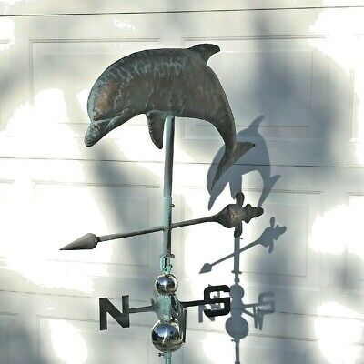 DOLPHIN LARGE JUMPING Weather vane AGED COPPER FINISH- FULLY FUNCTIONAL- NEW
