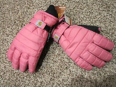 Carhartt WA575 Quilts Pink Insulated Winter Ski Gloves Women L New NWT
