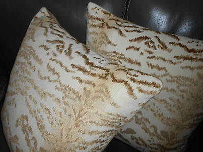 Cowtan and Tout Throw Pillows RAJAH cut Velvet fabric beige custom new PAIR