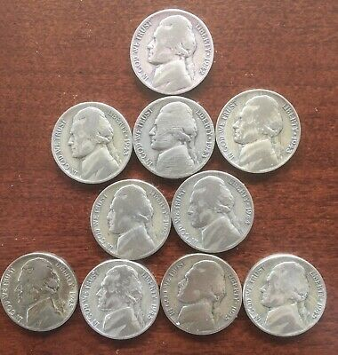 Us Lot/10 Ww2 Nickels 1942 To 1945 P,S,D - Mixed - Circulated -35% Silver