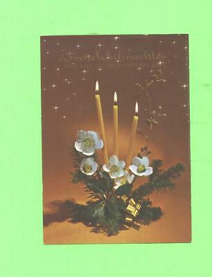A Postcard Christmas Candle And Flowers Post Card