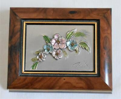 Vtg Flowers Embossed Silver Burl Wood Trinket Jewelry Box Signed
