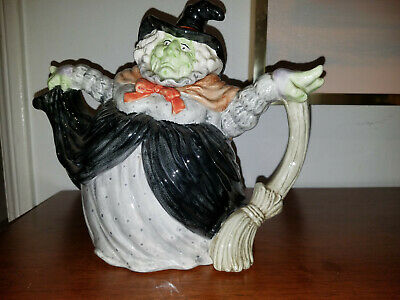 RARE FITZ AND FLOYD 1988 HALLOWEEN WITCH Holding Broom TEAPOT