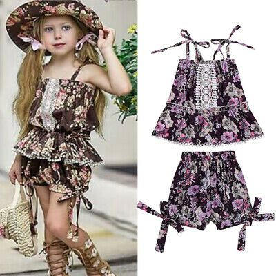 Toddler Kids Baby Girls Floral T-shirt Top Sundress Dresses +Short Pants Outfits