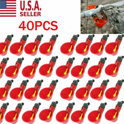 20X Poultry Water Drinking Cups Chicken Hen Plastic Automatic Drinker