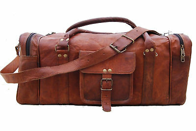 Vintage Genuine Leather Duffel Travel Overnight Weekend Gym Bag Holdall Luggage