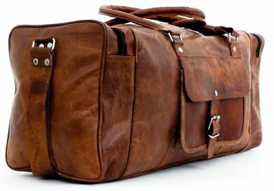 """25"""" Vintage New Large Men Real Leather Tote Luggage S Travel Bag Duffel Gym Bag"""