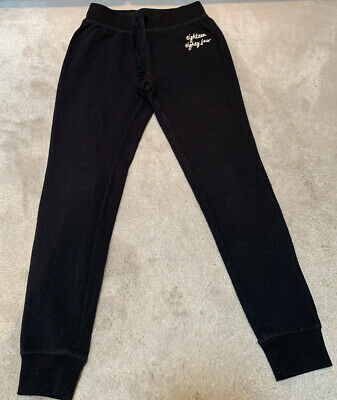 M&S Girls Black Joggers Pants Trousers Age 8-9 Years Vgc
