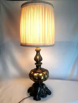 Victorian French Rococo Style Cast Brass Bronze Tall Heavy Lamp Ornate Lobed Vtg