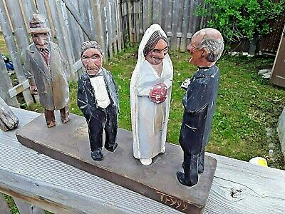 Carl Johan Trygg 4 Vintage Folk Art Carvings Forced Marriage