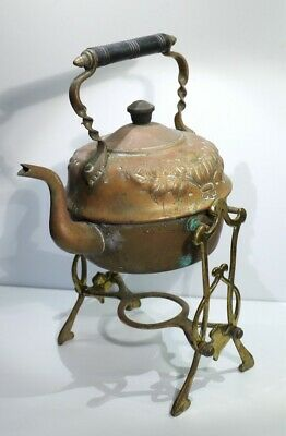 Antique Embossed Art Nouveau Brass Spirits Kettle on Stand - C1900.