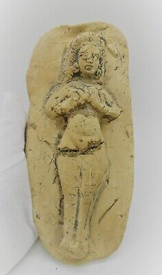 Circa 1000Bce Ancient Near Eastern Terracotta Plaque Depicting Worshipper