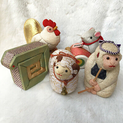 Set 5 Japanese Handicraft Traditional Zodiac Animal Silk Cover Wooden Dolls Cute