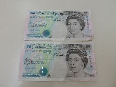 2- 1990 Five Pounds Notes Bank Of England