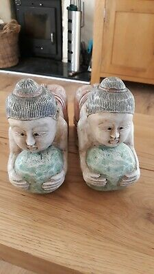 Chinese Pair Of Wooden Ornaments....very Unusual.....