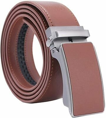 Men's Solid Buckle with Automatic Ratchet Dress Genuine Leather Belt 35mm Wide 1