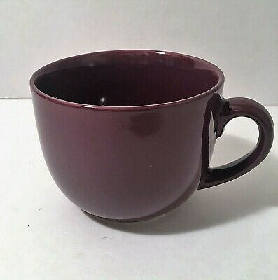 "Pier 1 Large Mouth Coffee Cup Mug Stoneware Maroon 5"" Diameter"