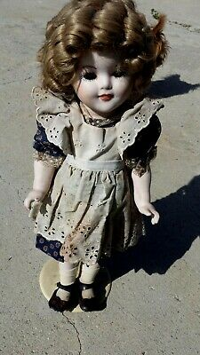 "Shirley Temple Doll 16"" Bisque real hair and eyelashes old original dress"