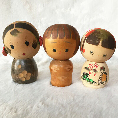 So Cute Vintage Traditional Creative Japanese KOKESHI  Wooden Girl Dolls - Set 3