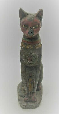 Circa 664 - 332 Bce Ancient Egyptian Glazed Stone Bastet Cat Statue Scarce