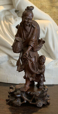 Antique Chinese Hand Carved Red Hard Wood Fisherman Statue