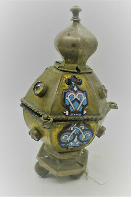 Beautiful Post Medieval Bronze Gilt Enamelled Vessel With Stones 1700-1800Ad