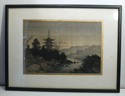 Framed Early 20th Century Antique Japanese Machine Woven Panel.