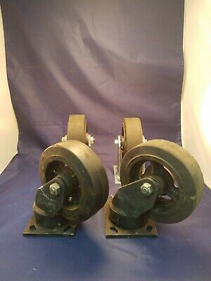 "Set of Albion 6"" Industrial Cast Iron Casters"